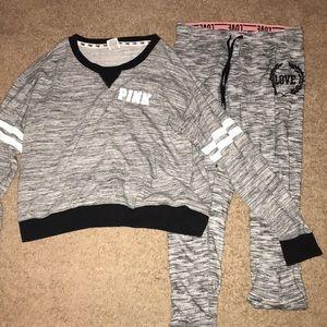 pink sweat shirt and pants set